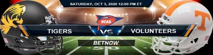 Missouri Tigers vs Tennessee Volunteers 10-03-2020 NCAAF Game Analysis Spread & Odds