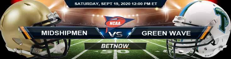 Navy Midshipmen vs Tulane Green Wave 09-19-2020 NCAAF Results Odds & Picks