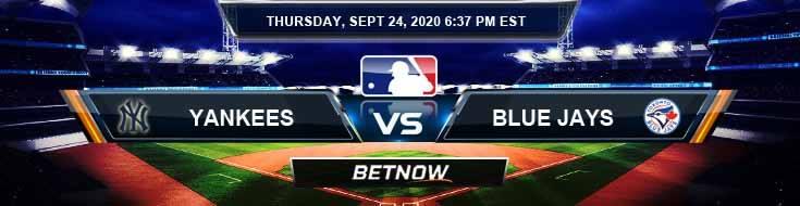 New York Yankees vs Toronto Blue Jays 09-24-2020 Analysis Forecast and Tips