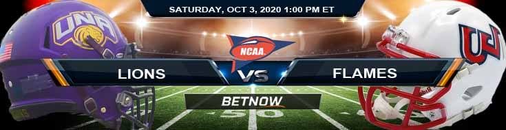 North Alabama Lions vs Liberty Flames 10-03-2020 NCAAF Picks Previews & Results