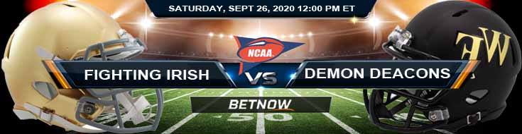 Notre Dame Fighting Irish vs Wake Forest Demon Deacons 09-26-2020 NCAAF Predictions Previews & Spread