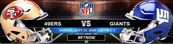 San Francisco 49ers vs New York Giants 09-27-2020 Forecast Analysis and Results