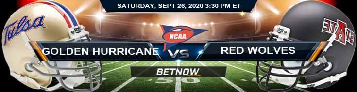 Tulsa Golden Hurricane vs Arkansas State Red Wolves 09-26-2020 NCAAF Picks Odds & Spread