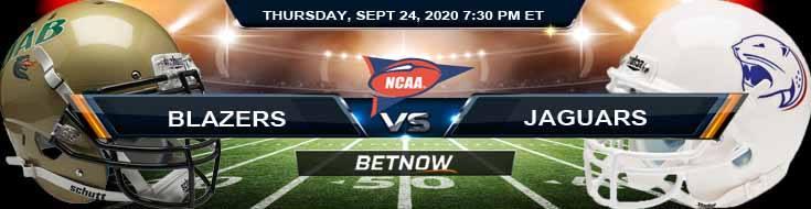 UAB Blazers vs South Alabama Jaguars 09-24-2020 NCAAF Odds Picks & Predictions