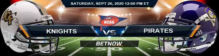 UCF Knights vs East Carolina Pirates 09-26-2020 NCAAF Spread Game Analysis & Odds