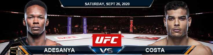 UFC 253 Adesanya vs Costa 09-26-2020 Odds Picks and Predictions