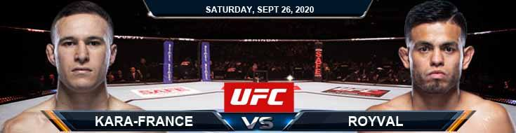 UFC 253 Kara-France vs Royval 09-26-2020 Predictions Previews and Spread