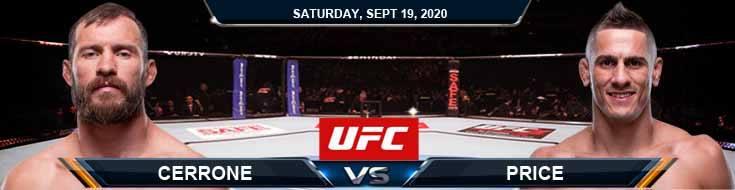 UFC Fight Night 178 Cerrone vs Price 09-19-2020 Predictions Previews and Spread