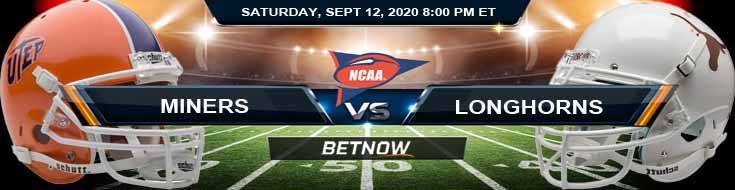 UTEP Miners vs Texas Longhorns 09-12-2020 NCAAF Picks Spread & Forecast