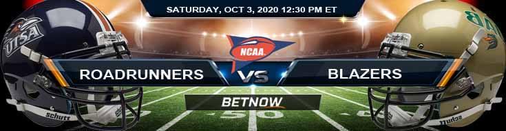 UTSA Roadrunners vs UAB Blazers 10-03-2020 NCAAF Tips Forecast & Analysis