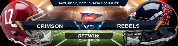 Alabama Crimson Tide vs Ole Miss Rebels 10-10-2020 NCAAF Odds Previews & Tips