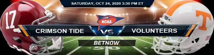 Alabama Crimson Tide vs Tennessee Volunteers 10-24-2020 NCAAF Forecast Tips & Odds