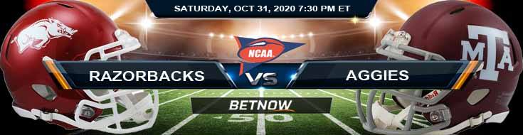 Arkansas Razorbacks vs Texas A&M Aggies 10-31-2020 NCAAF Game Analysis Tips & Spread