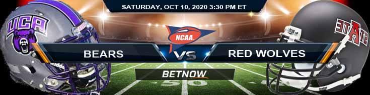 Central Arkansas Bears vs Arkansas State Red Wolves 10-10-2020 NCAAF Spread Picks & Previews