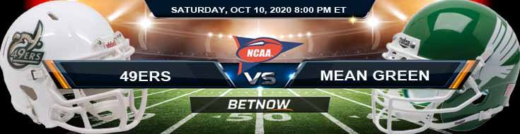 Charlotte 49ers vs North Texas Mean Green 10-10-2020 NCAAF Results Odds & Predictions