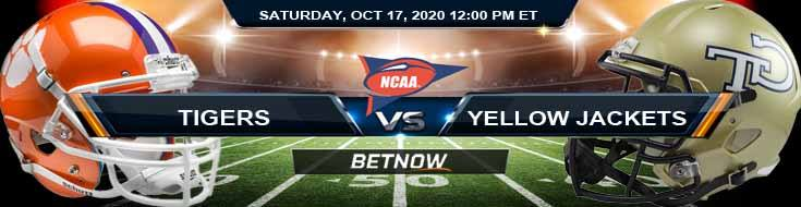 Clemson Tigers vs Georgia Tech Yellow Jackets 10-17-2020 NCAAF Odds Picks & Predictions