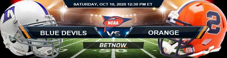 Duke Blue Devils vs Syracuse Orange 10-10-2020 NCAAF Forecast Odds & Spread