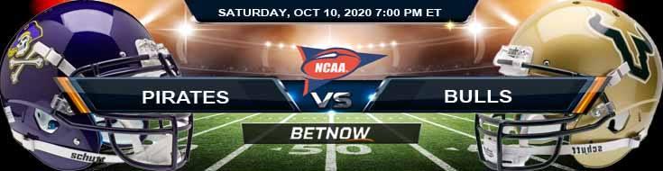 East Carolina Pirates vs USF Bulls 10-10-2020 NCAAF Forecast Odds & Spread