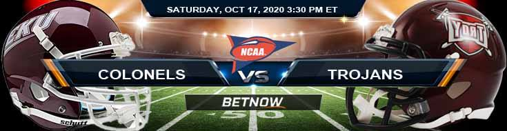 Eastern Kentucky Colonels vs Troy Trojans 10-17-2020 NCAAF Odds Previews & Tips
