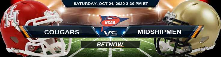 Houston Cougars vs Navy Midshipmen 10-24-2020 NCAAF Previews Spread & Game Analysis