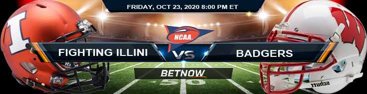 Illinois Fighting Illini vs Wisconsin Badgers 10-23-2020 NCAAF Previews Spread & Game Analysis