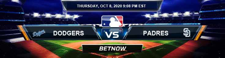 Los Angeles Dodgers vs San Diego Padres 10/08/2020 Picks, MLB Odds and Results
