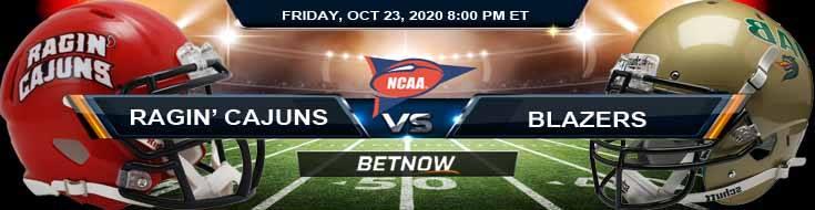 Louisiana Ragin' Cajuns vs UAB Blazers 10-23-2020 NCAAF Tips Forecast & Analysis