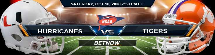 Miami-FL Hurricanes vs Clemson Tigers 10-10-2020 NCAAF Forecast Odds & Spread