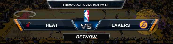 Miami Heat vs Los Angeles Lakers 10-2-2020 Odds Previews and Predictions