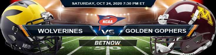 Michigan Wolverines vs Minnesota Golden Gophers 10-24-2020 NCAAF Spread Picks & Previews