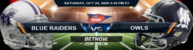 Middle Tennessee Blue Raiders vs Rice Owls 10-24-2020 NCAAF Odds Picks & Predictions