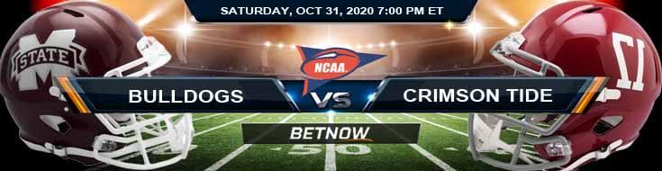 Mississippi State Bulldogs vs Alabama Crimson Tide 10-31-2020 NCAAF Spread Picks & Previews