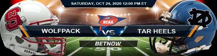 NC State Wolfpack vs North Carolina Tar Heels 10-24-2020 NCAAF Previews Odds & Spread