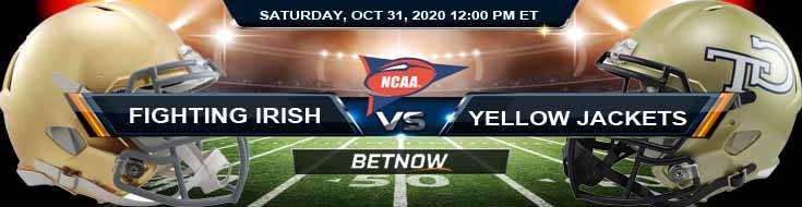 Notre Dame Fighting Irish vs Georgia Tech Yellow Jackets 10-31-2020 NCAAF Results Odds & Predictions