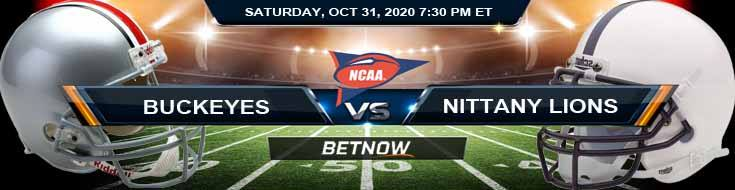 Ohio State Buckeyes vs Penn State Nittany Lions 10-31-2020 NCAAF Odds Previews & Tips