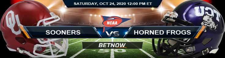 Oklahoma Sooners vs TCU Horned Frogs 10-24-2020 NCAAF Spread Picks & Previews