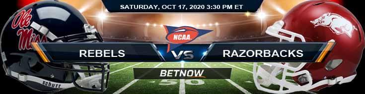 Ole Miss Rebels vs Arkansas Razorbacks 10-17-2020 NCAAF Tips Results & Predictions