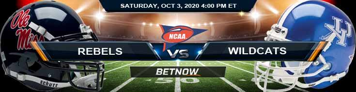 Ole Miss Rebels vs Kentucky Wildcats 10-03-2020 NCAAF Results Odds & Predictions