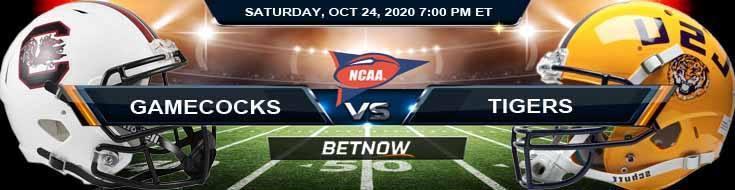 South Carolina Gamecocks vs LSU Tigers 10-24-2020 NCAAF Results Odds & Predictions