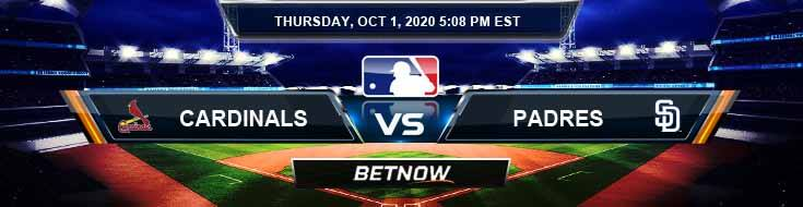 St. Louis Cardinals vs San Diego Padres 10-01-2020 Analysis Results and Odds
