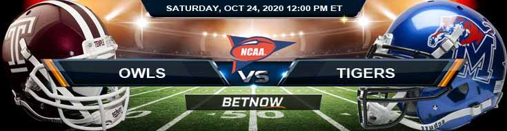 Temple Owls vs Memphis Tigers 10-24-2020 NCAAF Forecast Odds & Spread