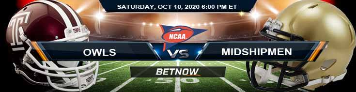 Temple Owls vs Navy Midshipmen 10-10-2020 NCAAF Previews Tips & Results