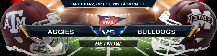 Texas A&M Aggies vs Mississippi State Bulldogs 10-17-2020 NCAAF Forecast Tips & Odds
