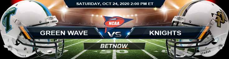 Tulane Green Wave vs UCF Knights 10-24-2020 NCAAF Predictions Odds & Previews