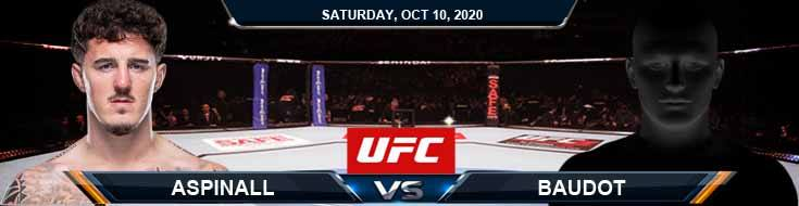 UFC Fight Night 179 Aspinall vs Baudot 10-10-2020 Predictions Previews and Spread