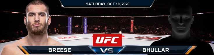UFC Fight Night 179 Breese vs Bhullar 10-10-2020 Spread Fight Analysis and Forecast
