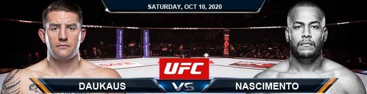 UFC Fight Night 179 Daukaus vs Nascimento 10-10-2020 Tips Results and Analysis
