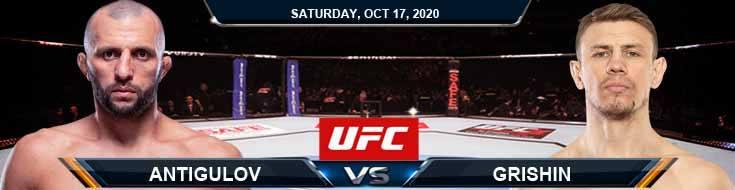 UFC Fight Night 180 Antigulov vs Grishin 10-17-2020 Odds Picks and Predictions