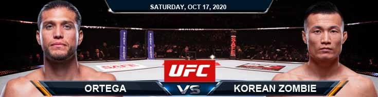 UFC Fight Night 180 Ortega vs Korean Zombie 10-17-2020 Odds Picks and Predictions