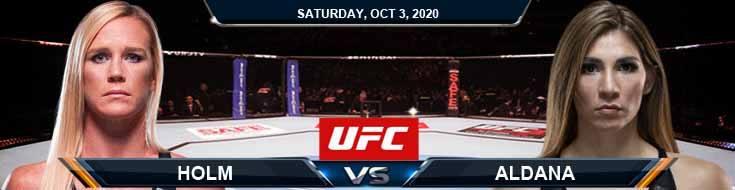 UFC on ESPN 16 Holm vs Aldana 10-03-2020 Odds Picks and Predictions